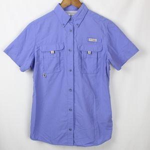 Columbia PFG Short Sleeve Blue Button Down Vented